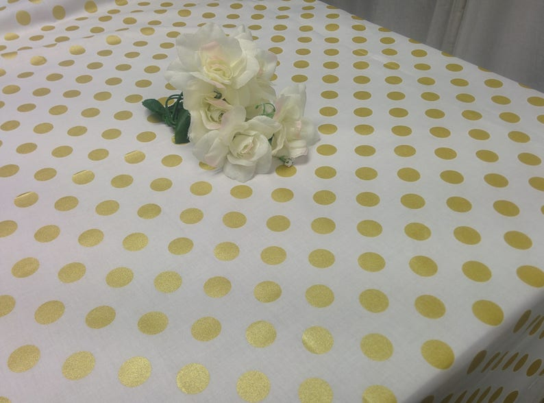 GOLD DOT TABLECLOTH  colors white black pink red Black image 0