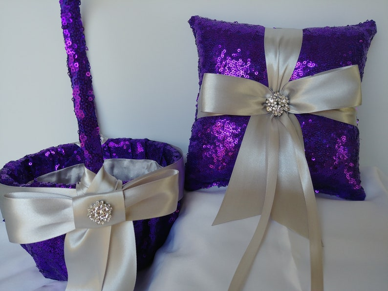 PURPLE SEQUIN WEDDING Set Ribbon colors Ring Pillow Basket image 0