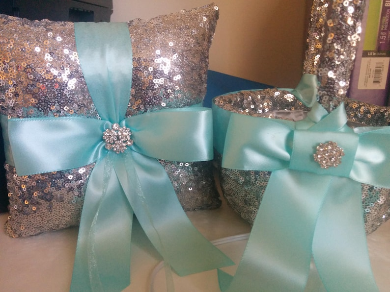 SILVER SEQUIN Ring Pillow Basket Choose Ribbon  Flower image 0