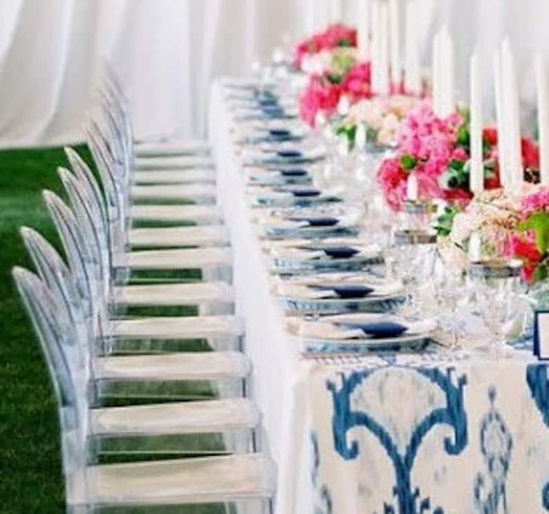 BLUE IKAT TABLE Runner  Blue and white Ikat Napkins image 0