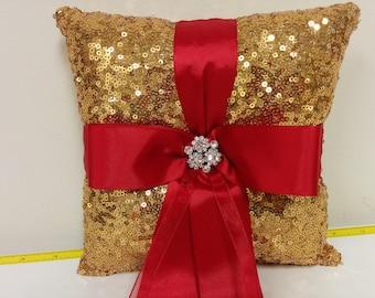 Gold Sequin Ring Pillow or Basket - Flower Girl basket-Ringbearer, Wedding, Bridal, Sequin,  Ribbon Choice, Bling Diamond, Bow Pillow