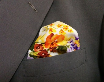 FLORAL POCKET SQUARE -  Hanky, Orange, yellow, purple,  Print, floral Wedding,  Men, flowers, pocket square, suit hanky,  10