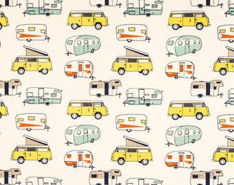 VINTAGE CAMPER LINENS- Table runner, Napkins, or Placemats, Colorful Vintage and Classic Camper Print, Wedding, Bridal, Home Decor, Party