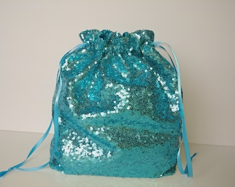 SEQUIN MONEY BAG, Colors, Turquoise, Rose Gold, Red, Wedding, Bridal, Sequins, Father Daughter, Money Dance, glitter bag, drawstring, purse