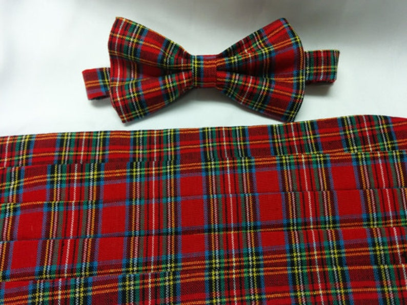 Ties, Cravats & Cummerbunds 15 TARTAN-Red/Green/Black Squares Bow Tie & Cummerbund Set-More Patters in Shop