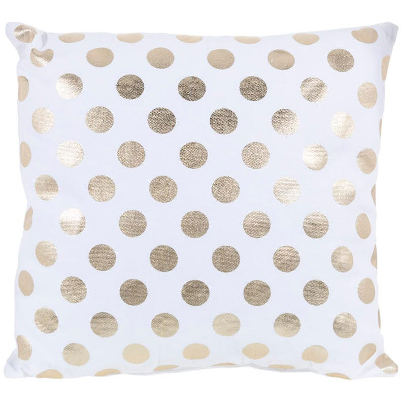 GOLD DOT PILLOW  Gold metallic polka dots gold and white image 0