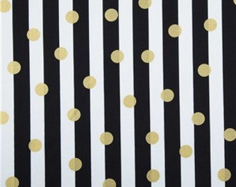 BLACK and White STRIPED Table Linens,  With Gold dots- Table Runners, Placemats, Centerpiece Rounds, Squares, wedding runner, shower