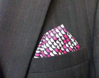 navy pink geometric POCKET SQUARE and or BOWTIE - scales, Print,  Wedding,  Men, groom, groomsmen,  suit hanky, 9
