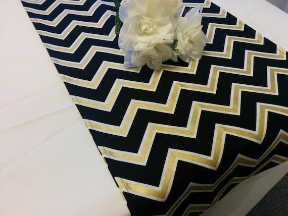 Black Gold Chevron Table Runner Or Napkins Pillow Cover Etsy