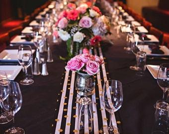 GOLD POLKA DOT Table Runner- Black Stripe Runner - Napkins- Placemats  Rounds, Squares, Black white -Gold metallic polka dots,  bridal