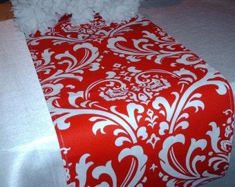 RED DAMASK RUNNER - red  Lipstick Table Runner Holiday Ossy -white on lipstick Christmas table linen, Wedding Runner