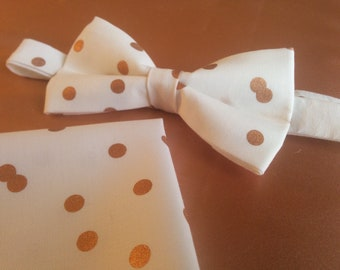 ROSE GOLD POLKA Dot Bowtie, tie or pocket square- Choose Sizes- Boy, Men, Big and Tall, rose gold dots on white, wedding, bridal, photos