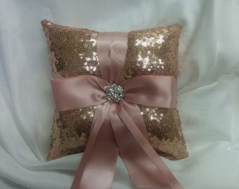 ROSE GOLD SEQUIN,  Ring Pillow, Basket, Guest book set -Colors- Flower Girl -Ringbearer, Wedding, Bridal, Sequin,  Ribbon Choice, Bling