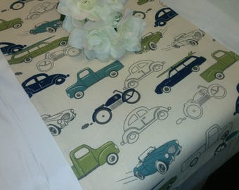 VINTAGE CARS LINENS, Cars Table Runners, Napkins, or Placemats, Vintage Cars , Trucks, Motorcycles, Wedding, Bridal, Party