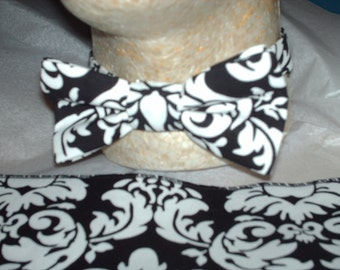 MEN'S DAMASK Bowtie and Pocket Square Hanky Tie Set- Dandy Damask Black and white Wedding PartyTie