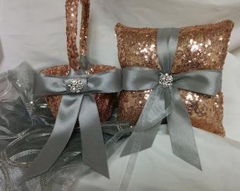 SEQUIN WEDDING PILLOW -Colors -Ring Pillow, Basket, Guest Book Set, Flower Girl -Ringbearer, Rose Gold, Bridal,  Ribbon Bow, Bling Diamond