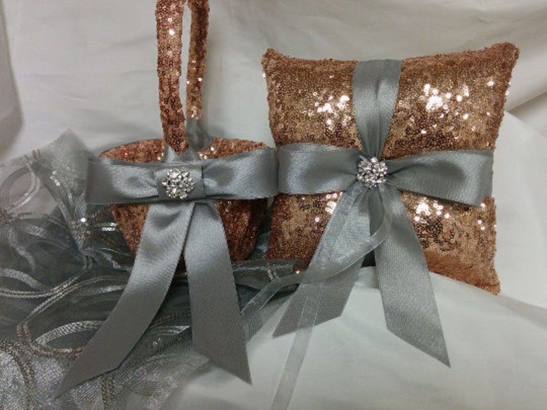 SEQUIN WEDDING SETS Colors Ring Pillow Basket Guest Book image 0