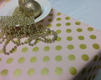 PINK GOLD DOT Linens- Table Runner or Napkins -or Placemats -Centerpiece Round, Square , Gold metallic dots on pink,  wedding, bridal shower