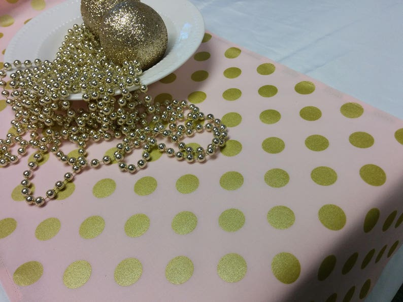 PINK GOLD DOT Linens Table Runner or Napkins or Placemats image 0