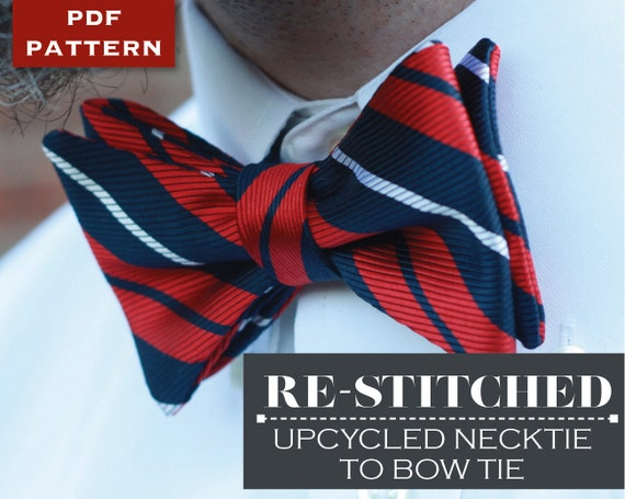 Bow Tie Pdf Sewing Pattern Upcycled From Necktie Bowtie Etsy