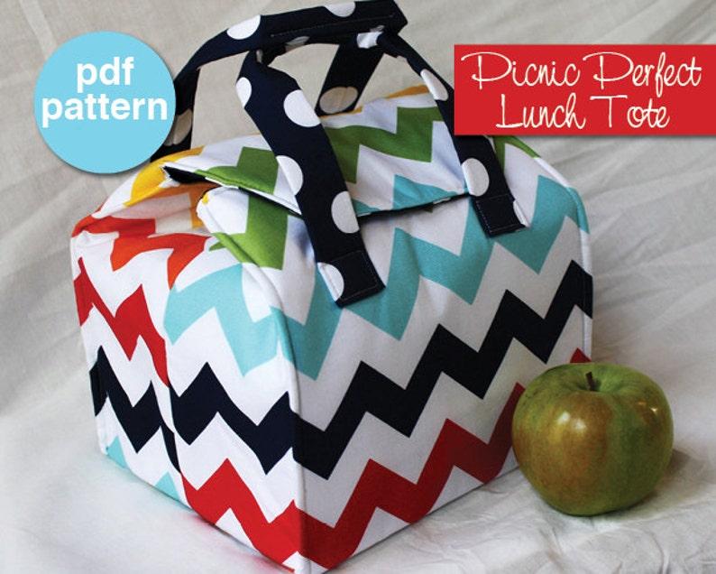 Picnic Perfect Lunch Tote  PDF Sewing Pattern  Bento Box image 0
