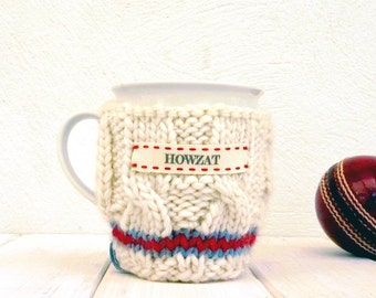 Cricket Mug and Cosy, Fathers Day Gift, Knitted Cricket Jumper Mug Cosy, Cricket Lover Gift, The Ashes, Gift for Grandad, Brother Gift