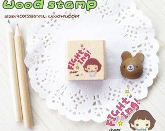 Girl Wooden Rubber Stamp  (P103.3 - Fighting & Cheer Up)