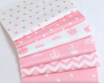 4705 - Pink Crown, Dot, Zigzag & Triangle Cotton Fabric - 62 Inch (Width) x 1/2 Yard (Length)