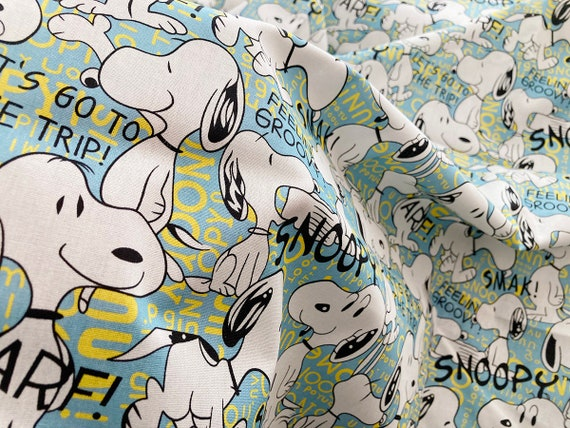 Snoopy Cotton Fabric Color Comic Figure Each Unit is a Fabric Piece 0.5 Meter x 1.40 Meters White  Black