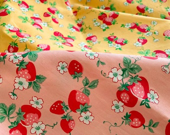 4628 - Strawberry Floral Cotton Fabric - 55 Inch (Width) x 1/2 Yard (Length)