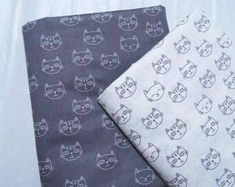 4552 - Smiling Cat Cotton Fabric - 62 Inch (Width) x 1/2 Yard (Length)