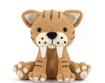 Oscar the Saber-Toothed Tiger Amigurumi crochet toy pattern PDF - crochet a cute stuffed animal