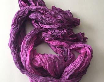 Fuchsia Silk Scarf / Hand Dyed Silk Scarf / Pink Silk Scarf / Fiber Art / OOAK / Textured Silks Collection