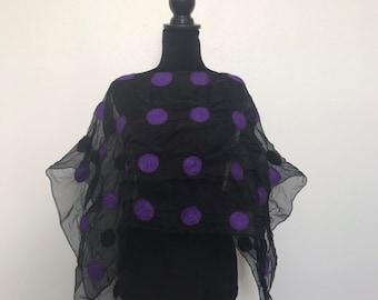 Nuno Felted Dots Tunic Top Shrug Scarf Black Purple