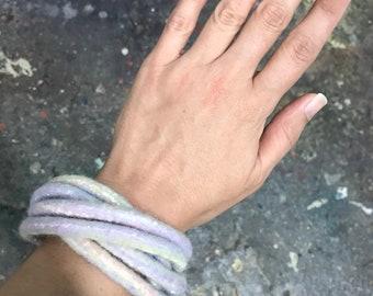 Sorbet  Felted Bracelet / Pink Felted Bangles / Modern Bracelet / Fiber Art / Yoga / from my Twisted Felt Collection