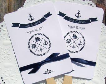 Nautical Wedding Fan   Nautical Wedding    Wedding Fans   Beach Wedding Fans   Nautical Favor Fans   Nautical Wedding Favors  