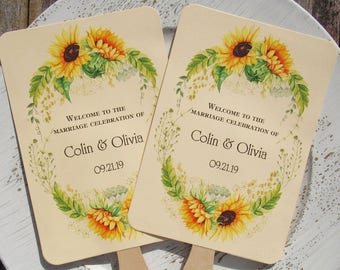 Personalized Fans For Weddings - Wedding Fans - Sunflower Wedding Fans - Sunflower - Fall Wedding Fans - Wedding Fans -Sunflower Fans