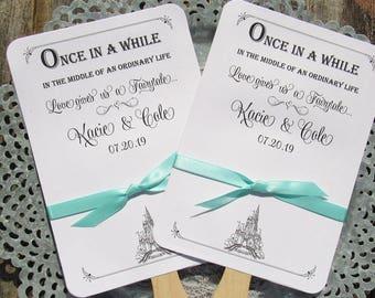 Fairytale Wedding    Fairytale Wedding Fans   Wedding Favor Fans   Assembled Wedding Fans   Cinderella Wedding    Wedding Favor Fan
