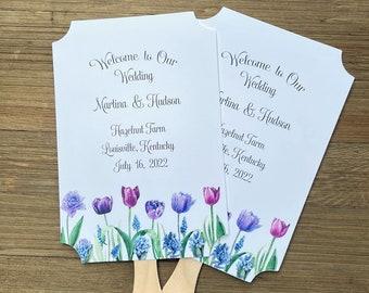 Printed Wedding Fans - Wedding Tulip Favors - Personalized  Wedding Fans - Wedding Fans Purple - Wedding Fans Assembled - Hand Fans