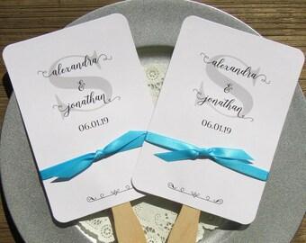Wedding Favor Fan - Monogrammed Fans - Personalized Hand Fans - Custom Wedding Fans - Assembled Wedding Fans Grey - Wedding Fans - Fans