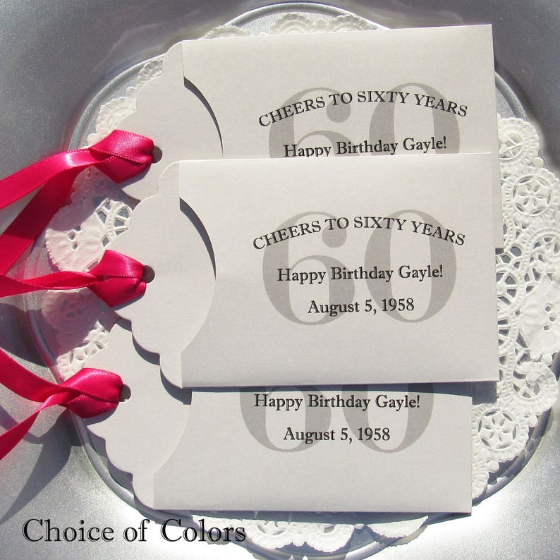 60th Birthday Party Favors Adult