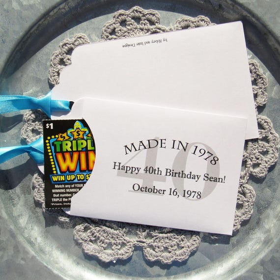 40th Birthday Party Adult Lottery Ticket Favor