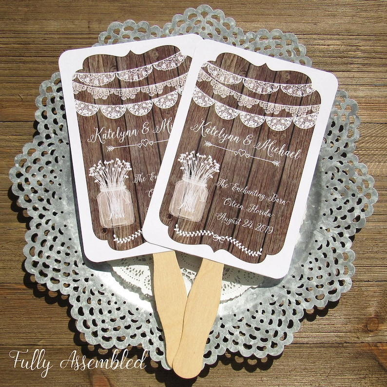 Wedding Fans Rustic Wedding Favors Rustic Rustic Wedding Etsy