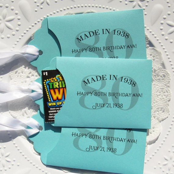 80th Birthday Favor Favors For Lottery Ticket