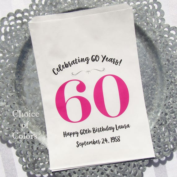 60th Favor Bags Adult Birthday