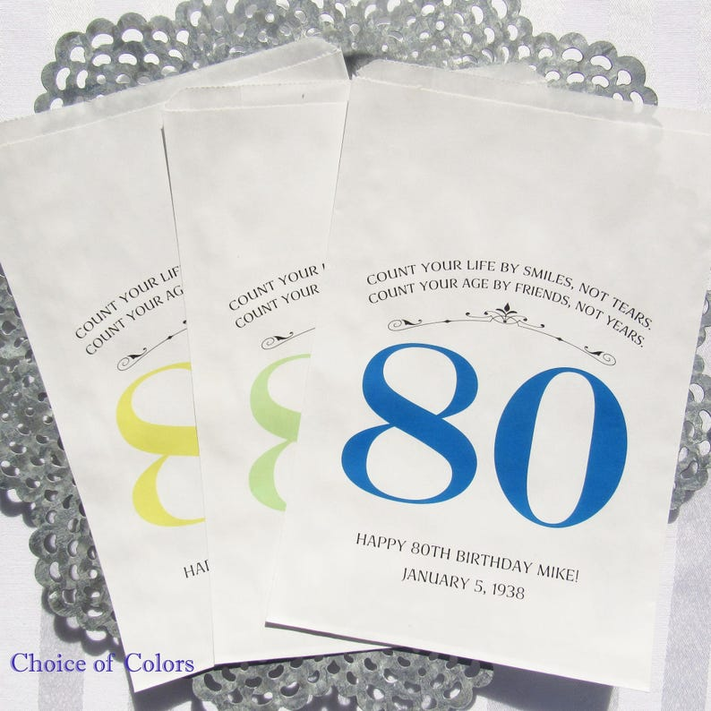 80th Birthday Favor Bags Adult Favors