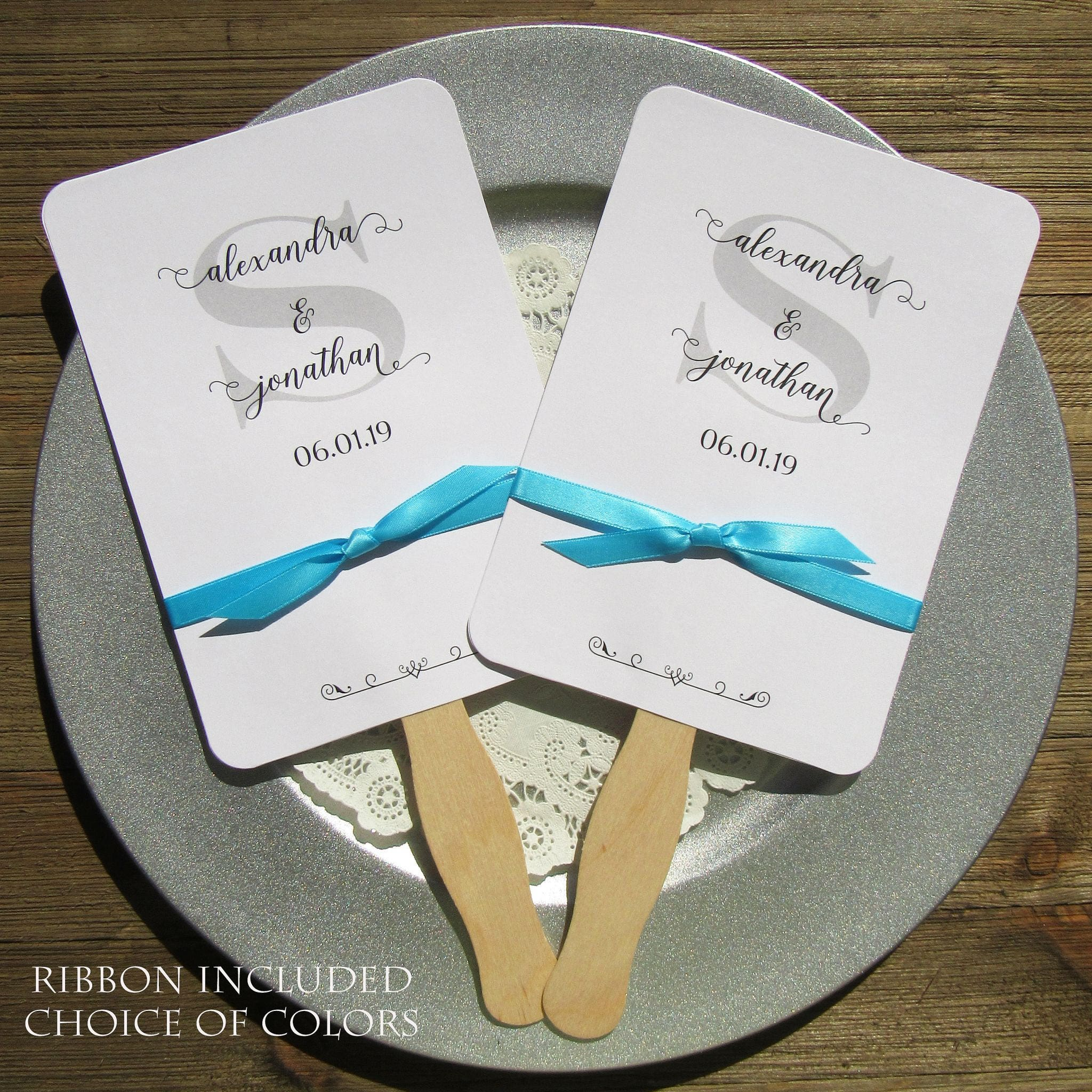 Wedding Favor Fan Monogrammed Fans Personalized Hand Fans