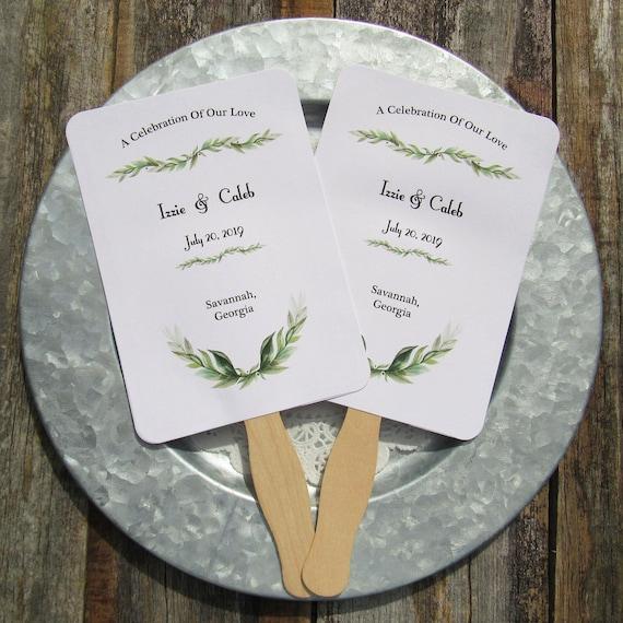 Greenery Wedding Wedding Fan Hand Fans Personalized Wedding
