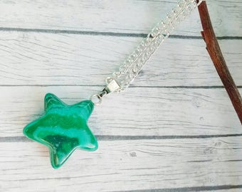 Malachite Star Necklace, Gemstone Necklace, Star Necklace, Green Star Necklace, Gemstone Jewellery, Star Jewellery, Gift For Her, Gemstone