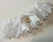 Irish Lace Wedding Garter with Claddagh Charm